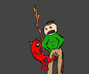 a fetus demon kicking a guy in balls