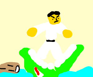 Karate jazza being eaten by a karate crocodile