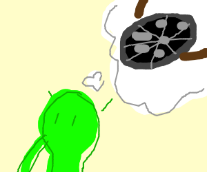 Green guy thinking about black pizza