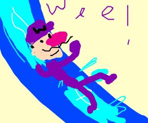 Waluigi in a water slide