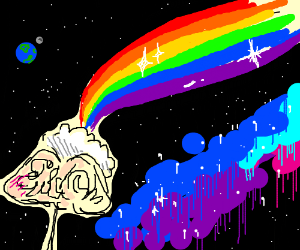 rainbow in space caused by imagination