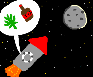 the moon with weed and beer