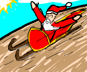 santa in his sleigh whilst it is summer