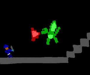 Old-timey Atari game w/ dragon