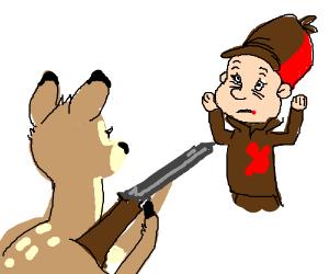 Bambi shoots Elmer Fudd