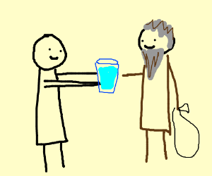 a maqn giving water to a hoomless person