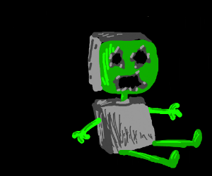 gray and green robot without eyes and mouth