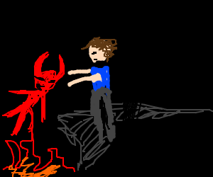 a man pushs satan into the fires of hell