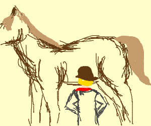 short cowboy looks at tall horses