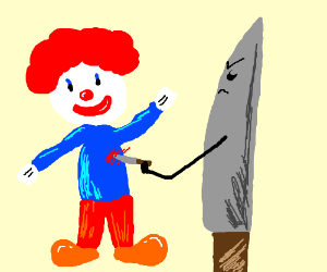 Clown stabbed by a kitchen knife