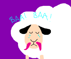 Pink mustachioed sheep crying