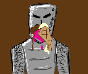 Medieval knight discovers neopolitan ice cream