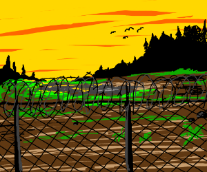a beautiful land beyond the barbed wire