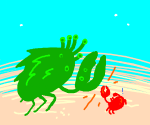 extraterestrial crab vs normal red  crab