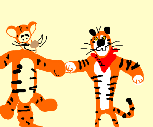 Tigger boxing Tony the Tiger