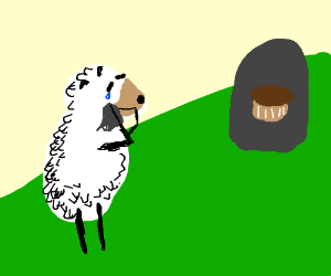 Sheep mourns muffin