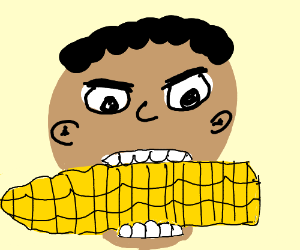 Boy gnaws corn cob