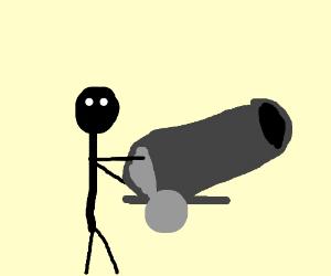 Stick man got a cannon