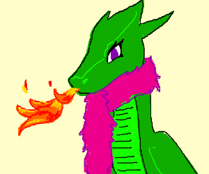Dragon wearing a feather boa