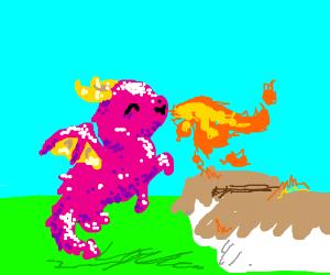 Happy sparkle dragon burns town
