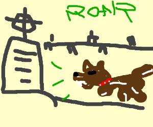 A dog roaring at a gravestone