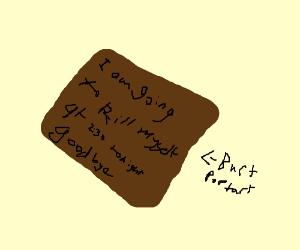 suicidal text message on burnt poptart