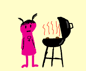 pink girl poops in the grill