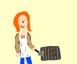 a woman cooking BBQ