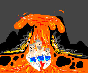 three old men travel through lava and surfers