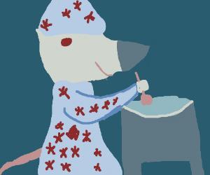 Mouse wizard stirring cauldron