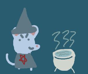 Evil mouse practicing black magic