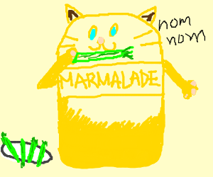 A cat made entirely of marmalade eating celery