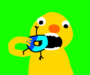 Yellmo eating Drawception D