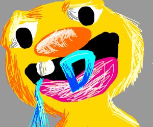 Yellmo's eating the Drawception Logo