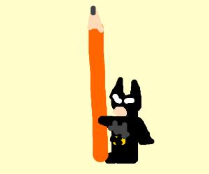 Lego Batman wields a real-life pencil