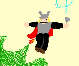 Thor flies with farts and fire