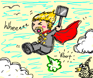thor flying by farting