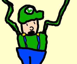 Luigi with very long flaily arms