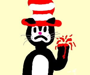 The cat in the hat has cut his hand off