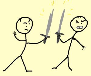 Two stickmen fighting with swords