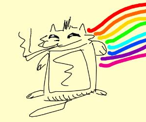 nyan cat having a smoke