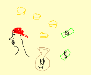 Guy with hat gets showered in money