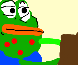 Pepe with chicken pox holding a box
