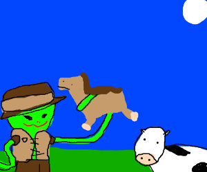 cowboy alien eating his horse and cows
