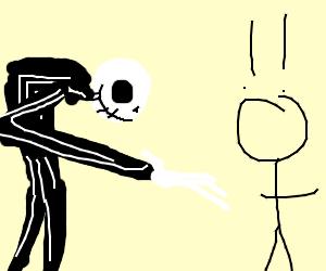 Jack Skellington shocks an innocent stickman
