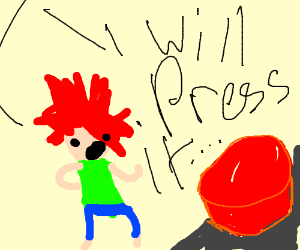 Angry spiked hair kid threatens to push button