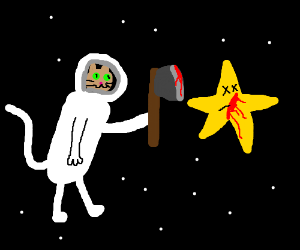 darf animal astronaut mankilling a star w/ axe