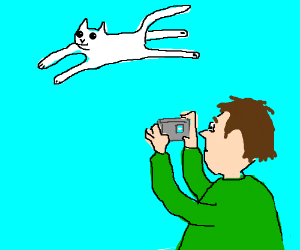 man takes picture of flying cat