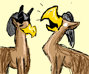 Two antelopes with bird beaks and beanies