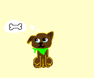 small tired brown dog with a green scarf